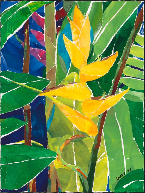 Yellow Heli - Hawaii collage art