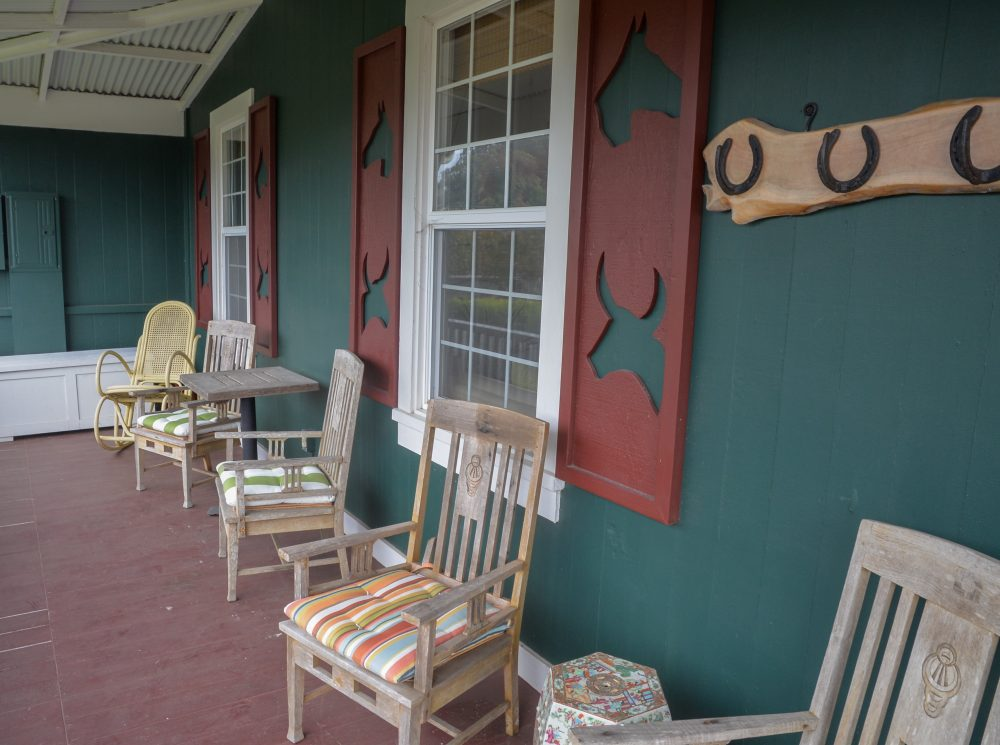 West Hawaii Today, at home on Hawai'i Island's article about the artist Mary Spears' home in Waimea. Chairs out on the lanai.