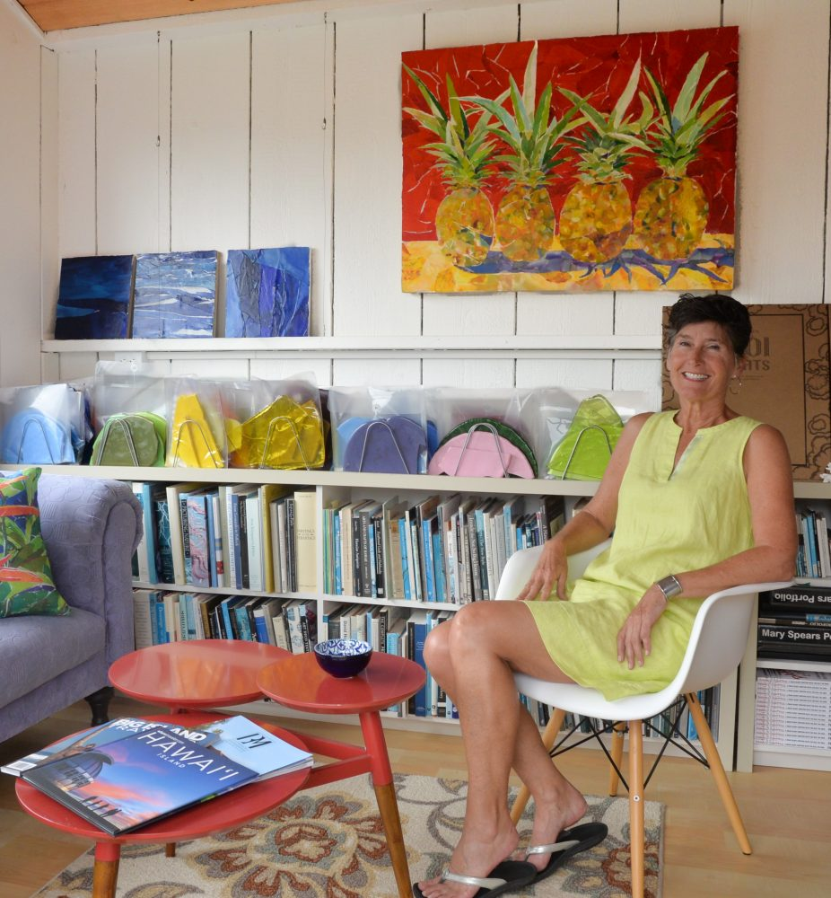 West Hawaii Today, at home on Hawai'i Island's article about the artist Mary Spears' home in Waimea. Mary in her art studio.