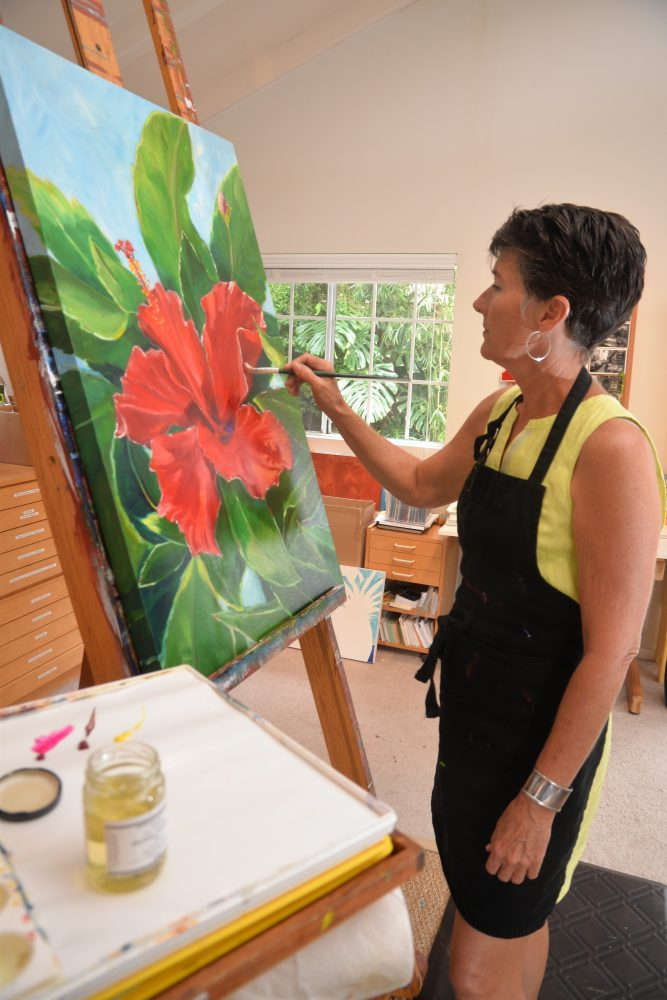 Spears in her art studio in Waimea on the Big Island of Hawaii.