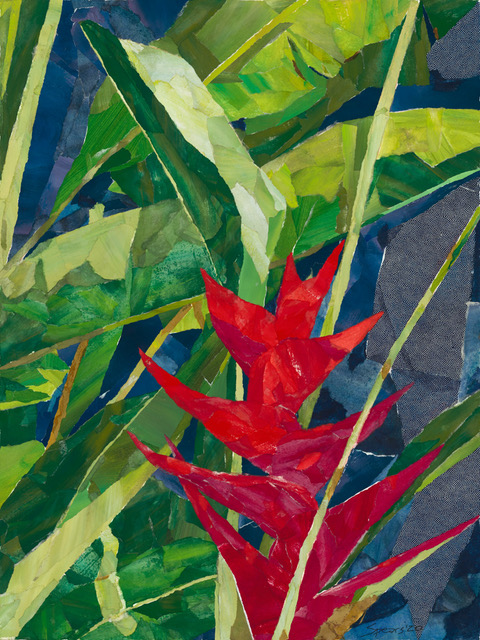 Red Heliconia with Leaves - Collage art by Mary Spears.