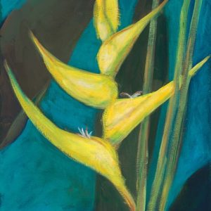 Yellow Heli on Blue - painting by Mary Spears.